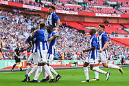Shane Cooper-Clark of Thatcham Town (9) celebrates scoring a goal from a penalty (1-0) during the FA Vase match between Stockton Town and Thatcham Town at Wembley Stadium, London, England on 20 May 2018. Picture by Stephen Wright