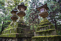 """Kasuga-taisha is a Shinto shrine in Nara often called Kasuga Grand Shrine. Established in 768 AD and rebuilt several times over the centuries. Kasuga Taisha is famous for its lanterns that have been donated by worshipers: hundreds of bronze lanterns are hanging from the buildings, and many stone lanterns line the approach to the shrine grounds. The lanterns are lit twice a year at the Lantern Festivals in February and August. Kasuga Shrine, and the Kasugayama Primeval Forest behind it are registered as UNESCO World Heritage Sites which is part of the """"Historic Monuments of Ancient Nara""""."""