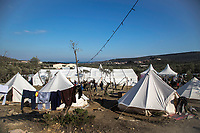 MYTILINI, GREECE - FEBRUARY 09: A view of the PIKPA refugee camp set up by volunteers near the official Moria refugee camp on February 09, 2015 in Mytilini, Greece. PIKPA is an open refugee camp in Mytilene, Lesvos. It is a self-organised, autonomous space run by volunteers and is built on the principle of solidarity. Pikpa opened three years ago and is now a growing and evolving camp in response to the dynamic nature of the refugee crisis on the island. Photo: © Omar Havana. All Rights Are Reserved