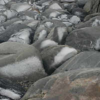 New snow  coats granite rocks on Booth  Island, Antarctica.