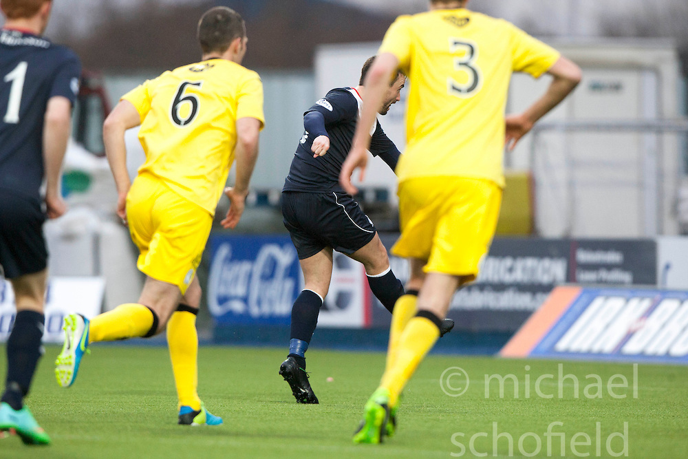 Falkirk's Mark Millar scoring their goal from the penalty spot.<br /> Falkirk 1 v 0 Queen of the South, Scottish Championship game today at the Falkirk Stadium.<br /> © Michael Schofield.