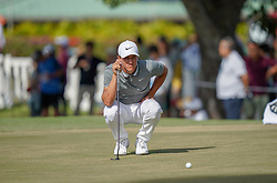 January 10, 2019 - Honolulu, HI, U.S. - HONOLULU, HI - JANUARY 10: Cameron Champ lines up a putt on the 9th hole during the first round of the Sony Open on January 10, 2019, at the Waialae Counrty Club in Honolulu, HI. (Photo by Darryl Oumi/Icon Sportswire) (Credit Image: © Darryl Oumi/Icon SMI via ZUMA Press)