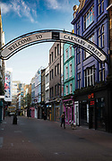 Carnaby Street is deserted at evening rush hour during the Coronavirus pandemic on 26th March 2020 in London, United Kingdom. The government clampdown includes the closure of most shops, bars and theatres throughout the country.