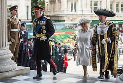 © London News Pictures. 18/06/2015. London, UK. His Royal Highness The Prince of Wales and Her Royal Highness the Duchess of Cornwall arrive at a service of commemoration at St Paul's Cathedral to mark the 200th Anniversary of the Battle of Waterloo, accompanied by the Lord Mayor of London  Photo credit: Sergeant Rupert Frere/LNP