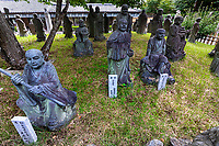 Arashiyama Rakan is located in front of Hogon-in Temple. There are about 70 Rakan Statue that belong to the temple. It is one of most popular spots in Arashiyama. In front of Hogon-in's main gate is an arrangement of statues known as the Arashiyama Rakan, a rakan being a fully enlightened Buddhist sage. Rakan is the short name of Arahan. It's a name for holly and respectable person.