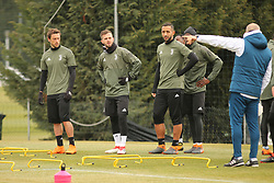 March 6, 2018 - Vinovo, Piedmont, Italy - From left: Claudio Marchisio (Juventus FC), Miralem Pjanic (Juventus FC) and Mehdi Benatia (Juventus FC) during the training on the eve of the second leg of the Round 16 of the UEFA Champions League 2017/18 between Juventus FC and Tottenham Hotspur FC at Juventus Training Center on 06 March, 2018 in Vinovo (Turin), Italy. (Credit Image: © Massimiliano Ferraro/NurPhoto via ZUMA Press)