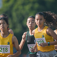 Giselle Diana Enlund (#228) of Cedar Girls' Secondary losing the lead to teammate Amanda Chun (#218) during the 1500m C Division Girls finals. (Photo © Stefanus Ian/Red Sports)