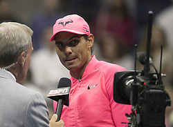 September 1, 2017 - Flushing Meadows, New York, U.S - Rafael Nadal is interviewed after winning his match on Day Four of the 2017 US Open with Ons Taro Daniel at the USTA Billie Jean King National Tennis Center on Friday September 1, 2017 in the Flushing neighborhood of the Queens borough of New York City. (Credit Image: © Prensa Internacional via ZUMA Wire)