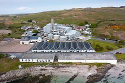 Aerial view from drone of old Port Ellen distillery and Diageo maltings in Port Ellen on Islay , Inner Hebrides , Scotland, UK