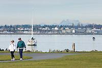 People enjoying a winter day at Boulevard Park, Bellingham Washington USA
