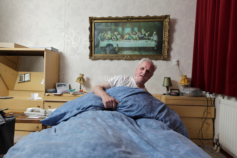 elderly single male person going to sleep in a independent living retirement home