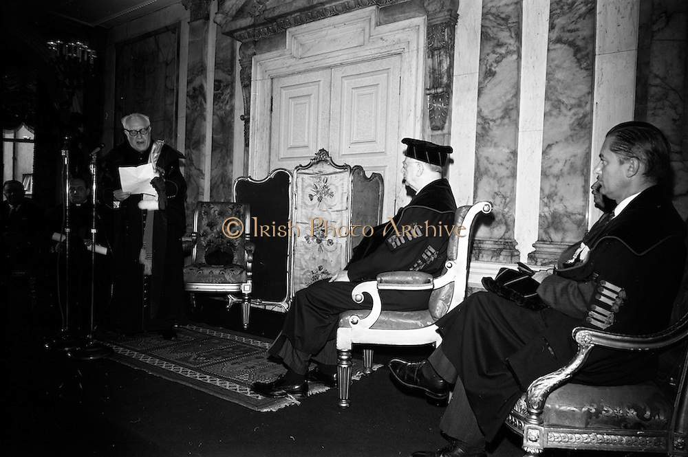 19/05/1966<br /> 05/19/1966<br /> 19 May 1966<br /> President Eamon de Valera receives Honorary Doctorate from the University of Louvain, Belgium at a conferring ceremony at the Department of External Affairs in Dublin. Picture shows  Right Reverend  Monsignor Louis De Raeymaeker,  Pro-Rector of The University of Louvain  giving his address at the conferring ceremony. President de Valera (centre) and Profeeor Michel Woitrin, (right) Administrator General.