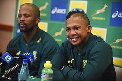 Cape Town-180619 Springbok flyhalf Elton Jantjies  feels he is ready to face England in their last game of the rugby test at Newslands on Saturday.He said this during a press conference at the Cullinan Hotel in Cape Town,next to him is assistant coach Mzwandile Stick.Photographer:Phando Jikelo/African News Agency/ANA