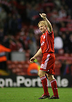 Photo: Paul Thomas.<br /> Liverpool v Bordeaux. UEFA Champions League, Group C. 31/10/2006.<br /> <br /> Dirk Kuyt of Liverpool gives the thumbs up at the end.