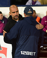 Pep Guardiola, the manager of Manchester City (l) and Tony Pulis, the manager of West Bromwich Albion ahead of k/o.  .Carabao Cup 3rd round match, West Bromwich Albion v Manchester City at the Hawthorns stadium in West Bromwich, Midlands on Wednesday 20th September 2017. pic by Bradley Collyer, Andrew Orchard sports photography.