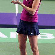 Petra Kvitova of Czech Republic holds up the trophy after she won the final match against Victoria Azarenka of Belarus at the WTA Championships tennis tournament in Istanbul, Turkey on 30 October 2011. Photo by TURKPIX