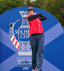 Auchterarder, Scotland, UK. 12 September 2019. Final practice day at 2019 Solheim Cup on Centenary Course at Gleneagles. Pictured; Jessica Korda drives on the 7th hole.Iain Masterton/Alamy Live News