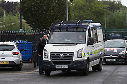 "© Licensed to London News Pictures . 28/08/2015 . Salford , UK . Police patrol outside St Paul's CE Church . The funeral of Paul Massey at St Paul's CE Church in Salford . Massey , known as Salford's "" Mr Big "" , was shot dead at his home in Salford last month . Photo credit : Joel Goodman/LNP"