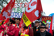 Union members at the N30 demonstration march protest in London as the public sector strike over pensions, this disrupted schools, hospitals and other services.