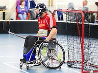 BREDA - Paragames 2011 Breda, keeper Huibert van Woerkum zaterdag tijdens  de interland Nederland-Duitsland  bij het 4-landentoernooi Wheelchair Floorball Hockey, het  Nederlands handvoortbewogen rolstoelhockeyteam. ANP COPYRIGHT KOEN SUYK