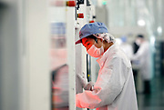 Workers operate on the assembly line that makes photovoltaic cells, the main energy generating component of a solar panel, at the Suntech Power Holdings factory in Wuxi, Jiangsu Province, China on 28 July 2009.  While China, the world's largest electricity consumer, installed less that 3% of the world's solar power capacity last year, its government subsidized alternative energy manufacturing industry now supplies the majority of the solar panels on the world market.