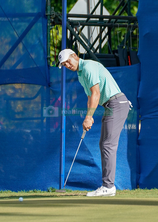 January 11, 2019 - Honolulu, HI, U.S. - HONOLULU, HI - JANUARY 11: Jordan Spieth putts on the 18th hole during the second round of the Sony Open at the Waialae Country Club in Honolulu, HI. (Photo by Darryl Oumi/Icon Sportswire) (Credit Image: © Darryl Oumi/Icon SMI via ZUMA Press)