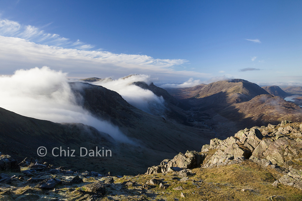 Cloud pouring over Kirk Fell (looking down Ennerdale Valley from Green Gable)