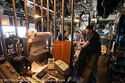 "Koji ""Hammer"" Hamad in hisHammer Sycle /Hardly-Driveable shop inTsuchiura City, Ibaraki Prefecture, Japan. Thursday December 7, 2017. Photography ©2017 Michael Lichter."
