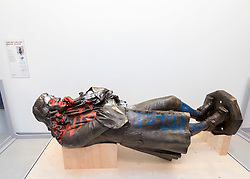 © Licensed to London News Pictures; 02/06/2021; Bristol, UK. **EMBARGOED until 19.30 Hrs Thursday 03 June 2021**. The statue of Edward Colston is displayed in a temporary exhibition in MShed on Bristol Harbourside. Photo credit: Simon Chapman/LNP.
