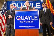 15 AUGUST 2012 - PHOENIX, AZ:  Senators JOHN MCCAIN and JON KYL announce their endorsement of Rep BEN QUAYLE Wednesday. Arizona's Republican US Senators, John McCain and Jon Kyl, announced their endorsement of Congressman Ben Quayle (R-AZ) during a press conference in Phoenix Wednesday. They decried the campaign being run by Quayle's opponent, Congressman David Schweikert (R-AZ). Both Quayle and Schweikert are freshman Congressmen from neighboring districts. They were thrown into the same district during the redistricting process and are now waging a bitter primary fight against each other.   PHOTO BY JACK KURTZ