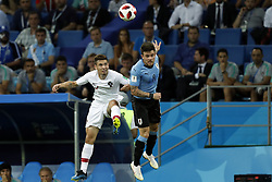 (l-r) Raphael Guerreiro of Portugal, Nahitan Nandez of Uruguay during the 2018 FIFA World Cup Russia round of 16 match between Uruguay and at the Fisht Stadium on June 30, 2018 in Sochi, Russia