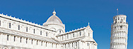 The Duomo cathedral and world famous Leaning (bell) Tower in Pisa, Tuscany, Italy.<br /> Picture date: Thursday February 21, 2019.<br /> Photograph by Christopher Ison ©<br /> 07544044177<br /> chris@christopherison.com<br /> www.christopherison.com