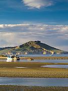 Harbor side view of Waikouaiti Harbor and the Cornish Head at Karitane, Otago, New Zealand.