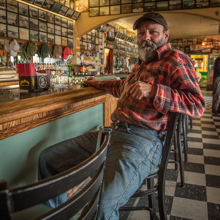 Fishing captain Bruce Ulrich at the Pioneer Bar in Sitka, Alaska