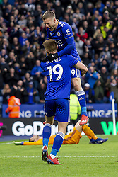 March 9, 2019 - Leicester, Leicestershire, United Kingdom - Jamie Vardy of Leicester City celebrates with Harvey Barnes of Leicester City after scoring his second goal during the Premier League match between Leicester City and Fulham at the King Power Stadium, Leicester on Saturday 9th March 2019. (Credit Image: © Mi News/NurPhoto via ZUMA Press)