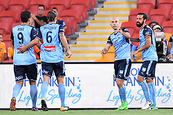 January 8, 2018 - Brisbane, QUEENSLAND, AUSTRALIA - Adrian Mierzejewski of Sydney (11, 2nd right) celebrates after scoring a goal during the round fifteen Hyundai A-League match between the Brisbane Roar and Sydney FC at Suncorp Stadium on Monday, January 8, 2018 in Brisbane, Australia. (Credit Image: © Albert Perez via ZUMA Wire)