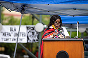 Wilkes-Barre, PA (July 11, 2020) -- Business owner Carmen Tinson speaks during the Black Lives Matter NEPA United Movement event at Wilkes-Barre Public Square.
