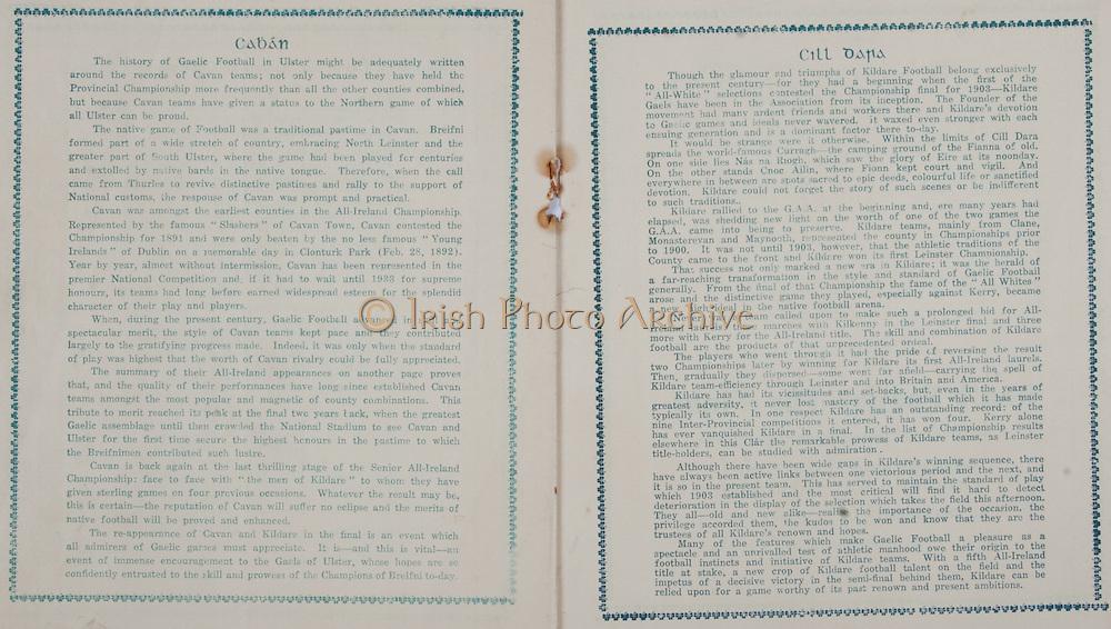 All Ireland Senior Football Final, Cavan v Kildare, 22.09.1935, 09.22.1935, 22nd September 1935, Cavan 3-06 Kildare 2-05, 22091935AISFCF,.
