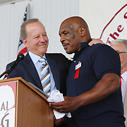 CANASTOTA, NY - JUNE 10:  Mike Tyson speaks about inductee Jim Gray during the parade of champions at the International Boxing Hall of Fame for the Weekend of Champions induction event on June 10, 2018 in Canastota, New York. (Photo by Alex Menendez/Getty Images) *** Local Caption *** Mike Tyson; Jim Gray