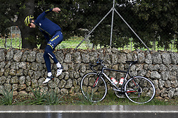 December 15, 2017 - Majorca, SPAIN - Belgian Jens Keukeleire of Orica Scott jumps over a stone wall during a press day during Lotto-Soudal cycling team stage in Mallorca, Spain, ahead of the new cycling season, Friday 15 December 2017. BELGA PHOTO DIRK WAEM (Credit Image: © Dirk Waem/Belga via ZUMA Press)