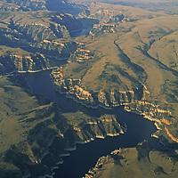 Sedimentary cliffs beside Bighorn Reservoir.