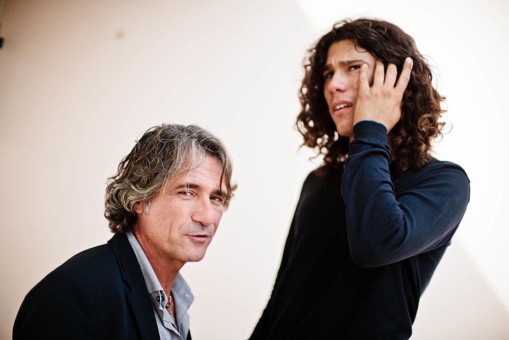 23 FEB 2012 - Castelfranco Veneto (TV) - Franco Antonello, imprenditore ed editore, con il figlio diciottenne Andrea, autistico, a casa