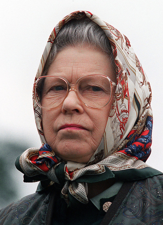The Queen looking rather stern at the Royal Windsor Horse Show,Windsor,UK in May 1999. Photograph by Jayne Fincher
