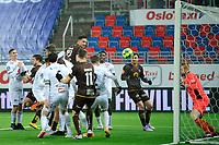Fotball , Eliteserien<br /> 28.12.2020 , 20201228<br /> Mjøndalen - Sogndal<br /> Mjøndalens Markus Lund Nakkim header inn det avgjørende målet til 3-2, langt på overtid<br /> Foto: Sjur Stølen / Digitalsport