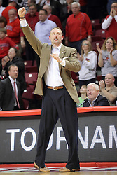 18 March 2015:   Dan Muller reacts to the win during an NIT men's basketball game between the Green Bay Phoenix and the Illinois State Redbirds at Redbird Arena in Normal Illinois