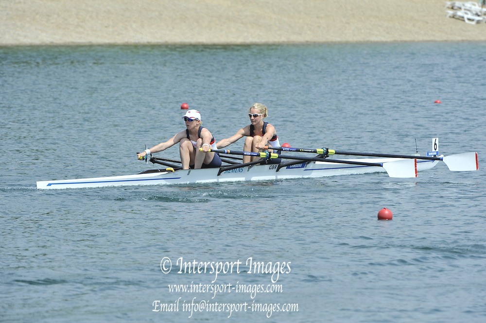 Belgrade, SERBIA. 2012 FISA World Cup I. GBR LW2X, Bow. Imogen Walsh and Andrea Dennis.    Friday  04/05/2012 [Mandatory Credit. Peter Spurrier/Intersport Images]