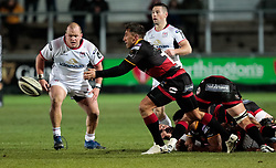 Dragons' Gavin Henson gets the ball away<br /> <br /> Photographer Simon King/Replay Images<br /> <br /> Guinness Pro14 Round 10 - Dragons v Ulster - Friday 1st December 2017 - Rodney Parade - Newport<br /> <br /> World Copyright © 2017 Replay Images. All rights reserved. info@replayimages.co.uk - www.replayimages.co.uk