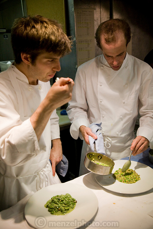 Chef Dan Barber (right) with a colleague at his Blue Hills Restaurant in New York City.  (Chef Dan Barber is mentioned in the book What I Eat: Around the World in 80 Diets.)