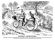 Decidedly uncomfortable. Awkward position of Mr Newfangle, who, when half-way up a steep hill, discovers by the sudden retrograde movement of the autocar that the motor has become exhausted.