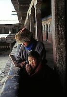 Samye Monastery under reconstruction, Central Tibet, Winter 1986. Kodachrome Film.
